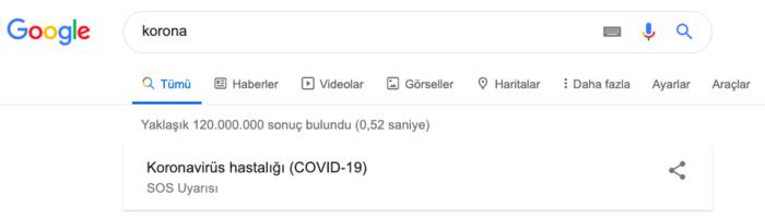 googledan koronavirus icin sos uyarisi 1