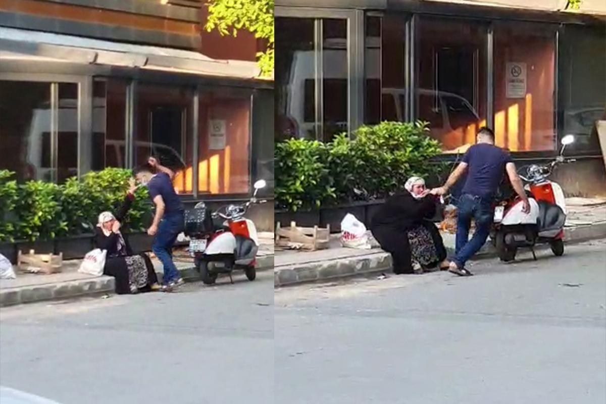 Sancaktepe'de silahlı saldırganın sokak ortasında annesini darp ettiği anlar kamerada